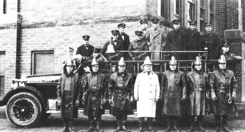 Old picture of fire fighters on 1925 fire truck