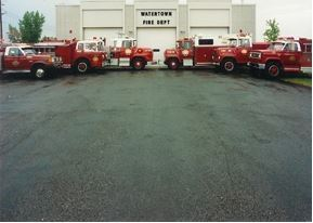 Fire station from 1972 with fire trucks